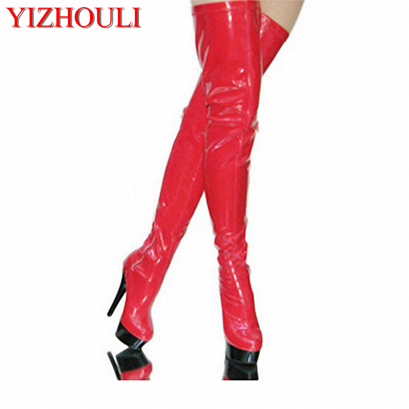 women 15cm high thin heels red plus size over knee long stiletto thigh high boots 6 inch sexy clubbing pole dancing boots sexy clubbing pole dancing knee high boots 6 inch high heel shoes winter fashion sexy warm long 15cm zip platform women boots
