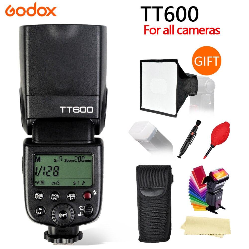Godox TT600 2.4g speedlite inalámbrico maestro/esclavo Flash con sistema de disparador incorporado para Canon Nikon Pentax Olympus Fuji sony