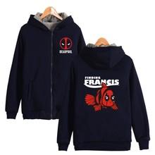 ALIZAZA Deadpool hoodies Men Sweatshirts 2016 winter warm fleece thicken Dead Pool men hoodie coat casual Zip Up jacket loose