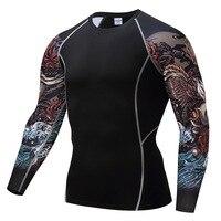 Crossfit Фитнес Одежда Длинные рукава футболка мужская 2018 Tight стрейч костюм ММА Костюмы