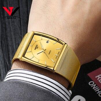 NIBOSI Watches Man Clock Men's Wrist Watch Gold Stainless Steel Ultra Thin Male Quartz Men's Wrist Watch Military Sport Watches