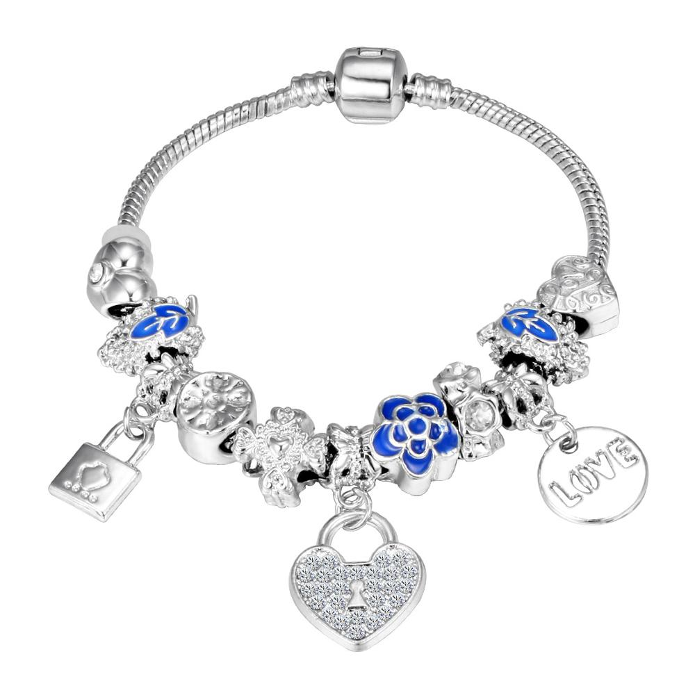 Pink Crystal Charm Silver Bracelets & Bangles for Women  Beads Silver Bracelet Femme Jewelry 12