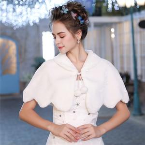 Image 5 - Fashion Women Warm Wrap Faux Fur Short Cape Bridal Wedding Bridesmaids Cover Up Winter Jacket Lace Up Shrug Handmade