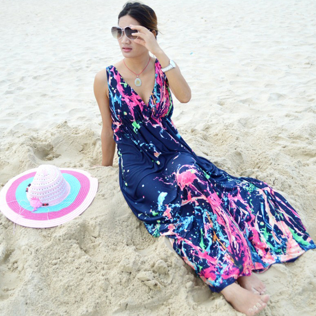 Plus Size M-5XL Summer Style Boho Long Dress Women Beach Tie-dye Print Maxi Dress For Women Casual Robe Longo