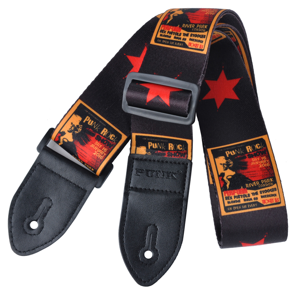 12pcs (Polyester painted guitar strap folk guitar / acoustic guitar strap Black and red stars amumu traditional weaving patterns cotton guitar strap for classical acoustic folk guitar guitar belt s113