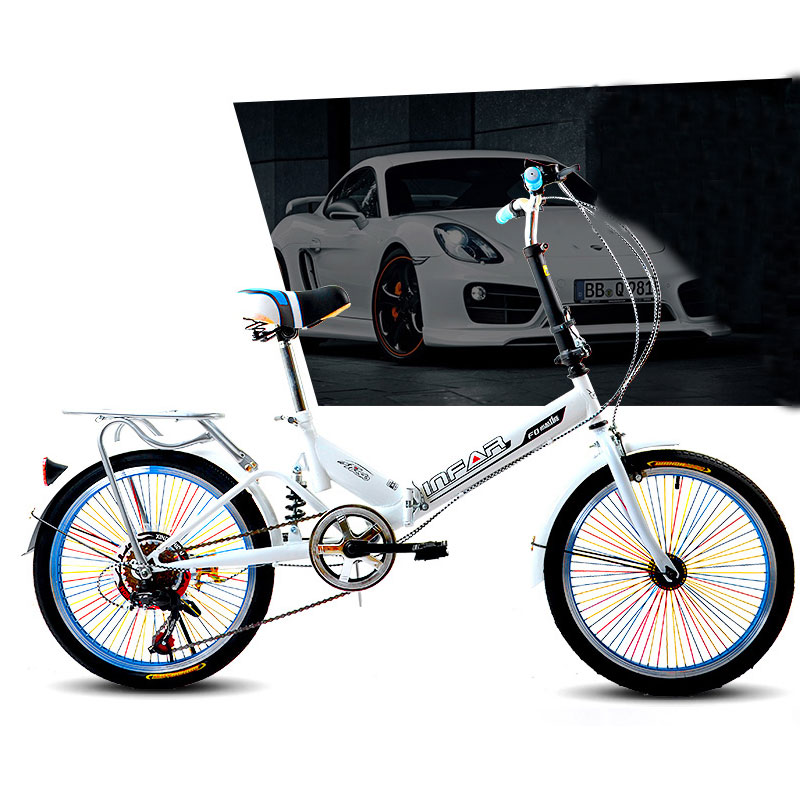 20-inch Colorful Variable Speed Folding Bicycle Ultra-portable Adult Bike Shock Absorber Bikes