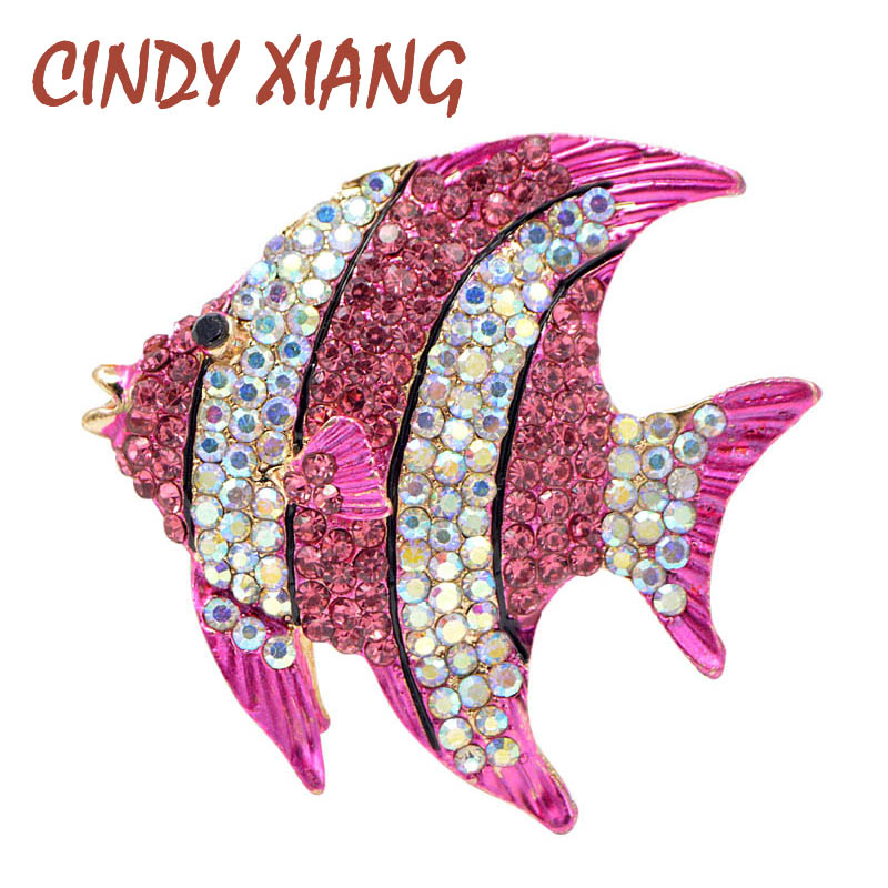 CINDY XIANG Rhinestone Tropical Fish Brooches for Women Large Cute Animal Brooch Party Coa