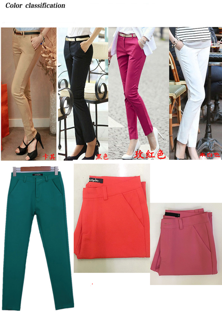 18 NEW women's casual OL office Pencil Trousers Girls's cute 12 colour Slim Stretch Pants fashion Candy Jeans Pencil Trousers 2