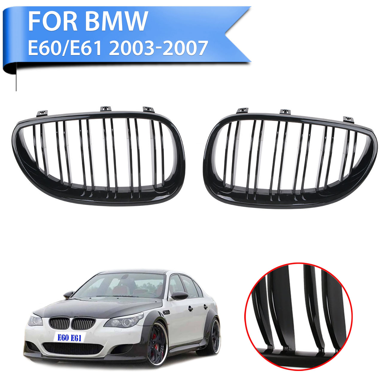 1Pair Front Gloss Black Kidney Grilles Double Line Grill Set For BMW E60 E61 5 Series 5-Serie M5 2003-2010 #P341 стоимость