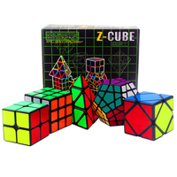5 Stks/set Professionele Zwarte 2x2x2 3x3x3 Pyraminx Skew Megaminx Magic Cube Speelgoed voor Kids Glad Speed Magic Cube 2*2*2 3*3*3