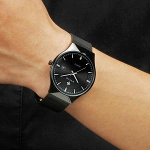 Image 4 - Men Watches Top Brand Luxury WWOOR Simple Slim Date Quartz Watch Men Wristwatch Business 블랙메쉬 남성 Watch Relogio Masculino