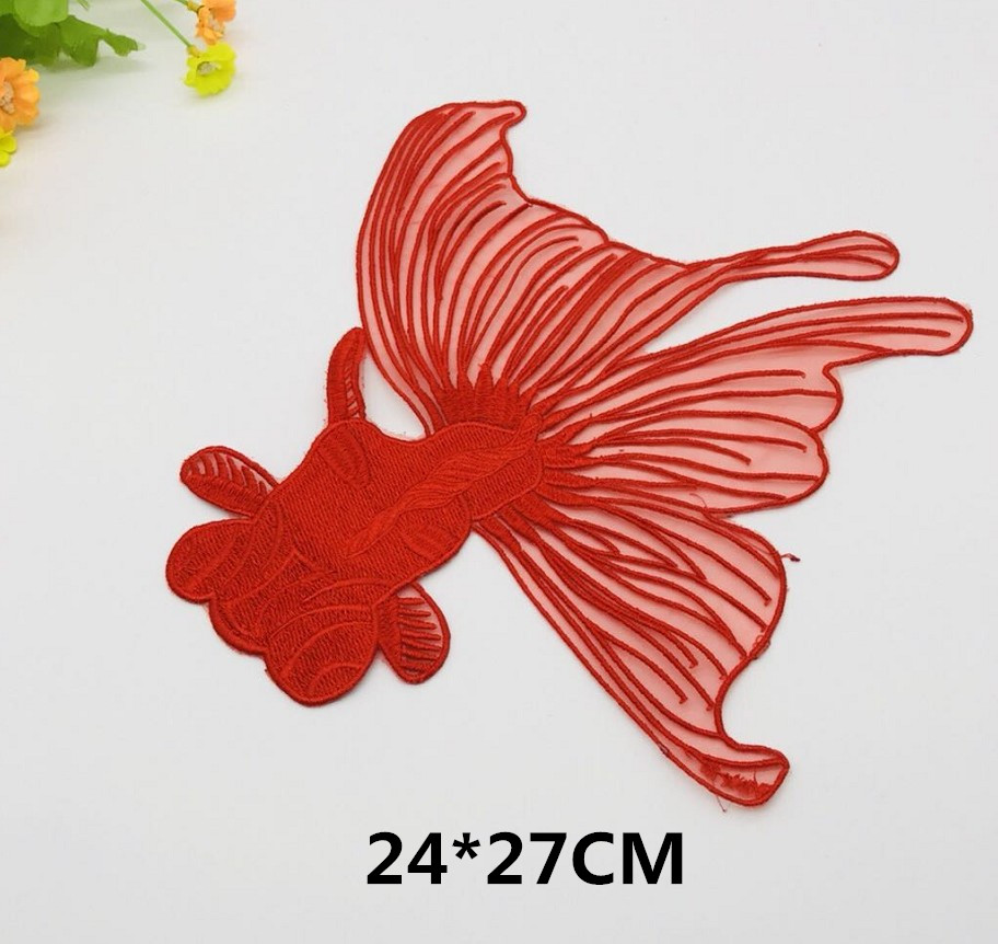 Diy Handmade Embroidered Patch: 1PCS 24*27cm Large Goldfish Embroidered Applique For