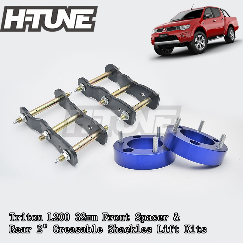 H-TUNE 4x4 Accesorios 32mm Front Coil Spacer and Rear Extended 2 Greasable Shackles Lift Up Kits For Triton L200 05-14 h tune 4x4 accesorios 32mm front spacer and rear extended 2 inch g shackles lift up kits 4wd for triton l200 mk ml 06 14