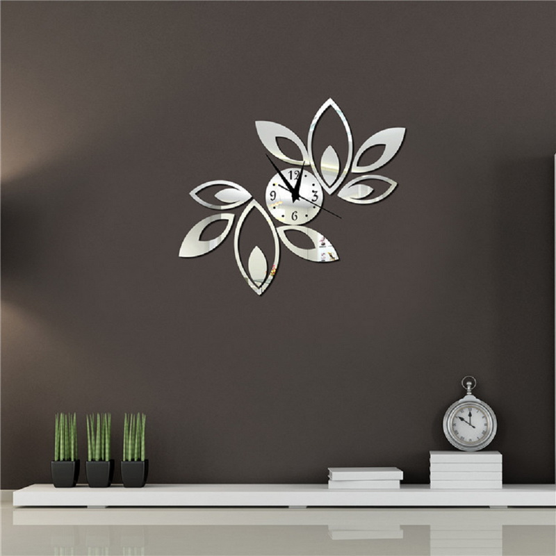 Popular lotus wall clock buy cheap lotus wall clock lots for 3d acrylic mirror wall sticker clock decoration decor