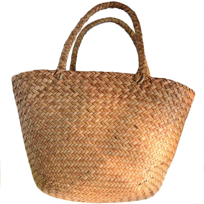 Casual Straw Bag Natural Wicker Tote Bags Women Braided Handbag For Garden Handmade Mini Woven Rattan Bags