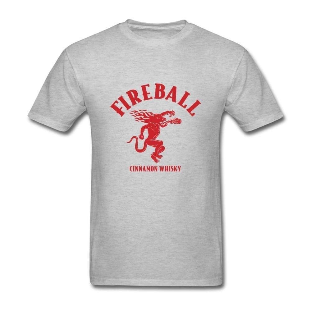 Mens Fireball Cinnamon Whisky Logo Personality T Shirts New Graphic Tees Normal Short Sleeve Cotton T Shirts Interesting
