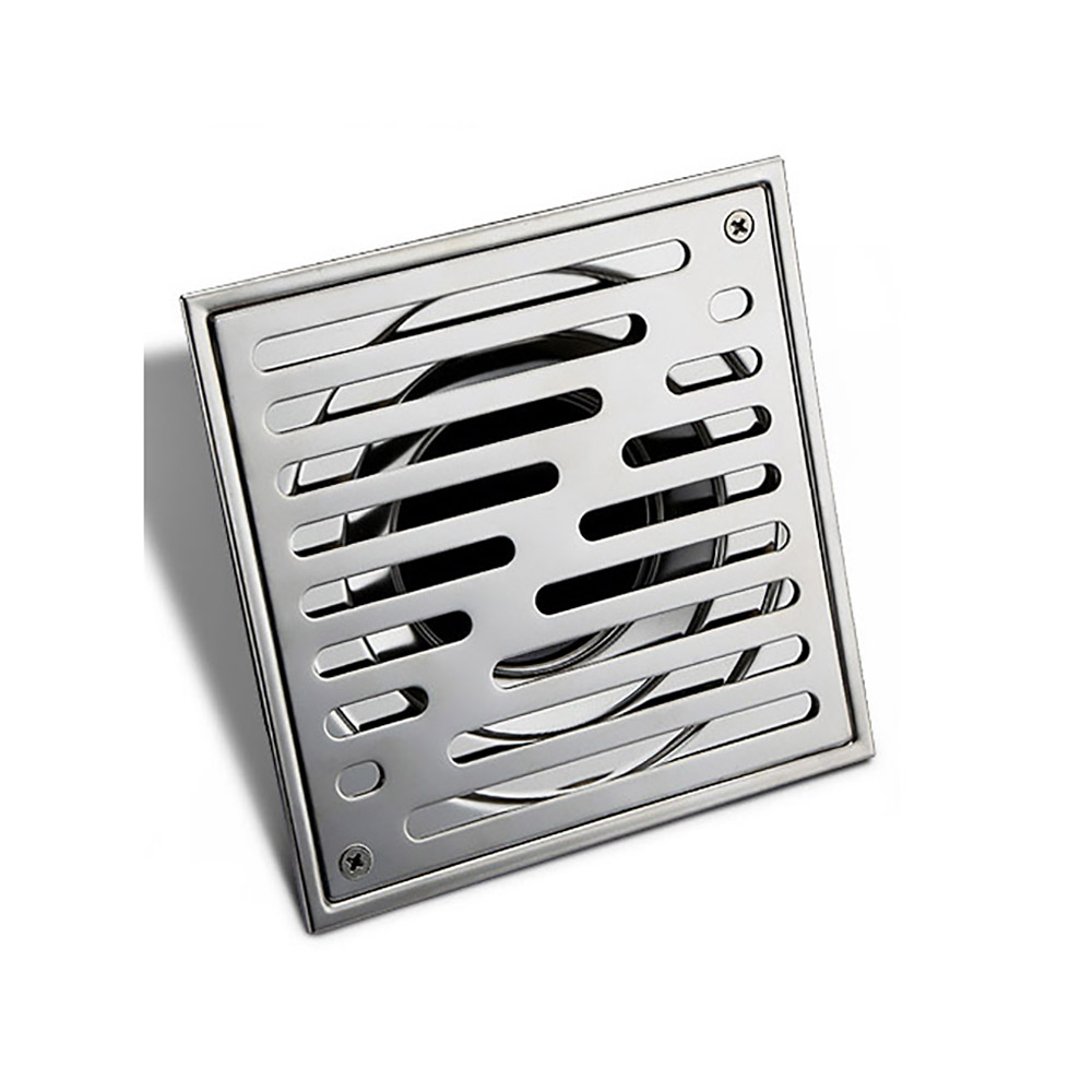 304 Stainless Steel 15 X 15 Cm Square Shower Floor Drain With Removable Strainer φ66 Outlet