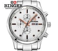 Relógio dos homens de luxo da marca suíça BINGER Quartzo masculino relógio de aço inoxidável completa de Pulso à prova d' água 100M BG-0401-4