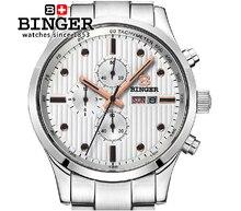Switzerland men's watch luxury brand Wristwatches BINGER Quartz full stainless male watch steel waterproof 100M BG-0401-4