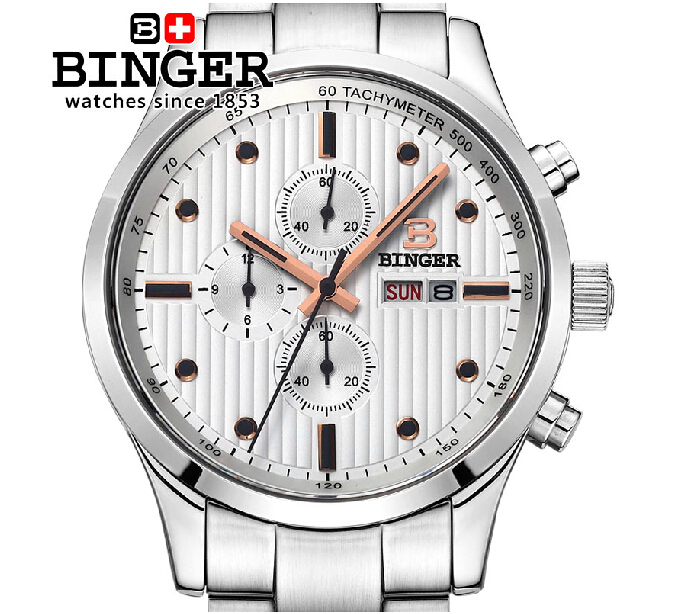 Switzerland men's watch luxury brand Wristwatches BINGER Quartz full stainless male watch steel waterproof 100M BG-0401-4 switzerland relogio masculino luxury brand wristwatches binger quartz full stainless steel chronograph diver clock bg 0407 3
