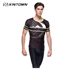 XINTOWN cheap clothes china Mens ropa ciclismo bicicleta Tight Shirt GYM Running T-shirt Cycling Tee Top sport psg  jersey