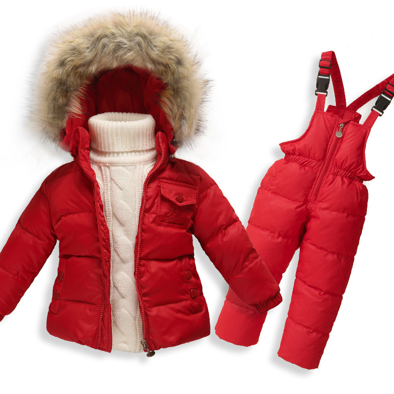Children Duck Down Set Winter Warming Clothes Baby Girl Coat Jacket Suit Kids Outdoor Clothing Boys Fashion Coat+Jumpsuit 1-6 girl jackets coat for winter baby girl down