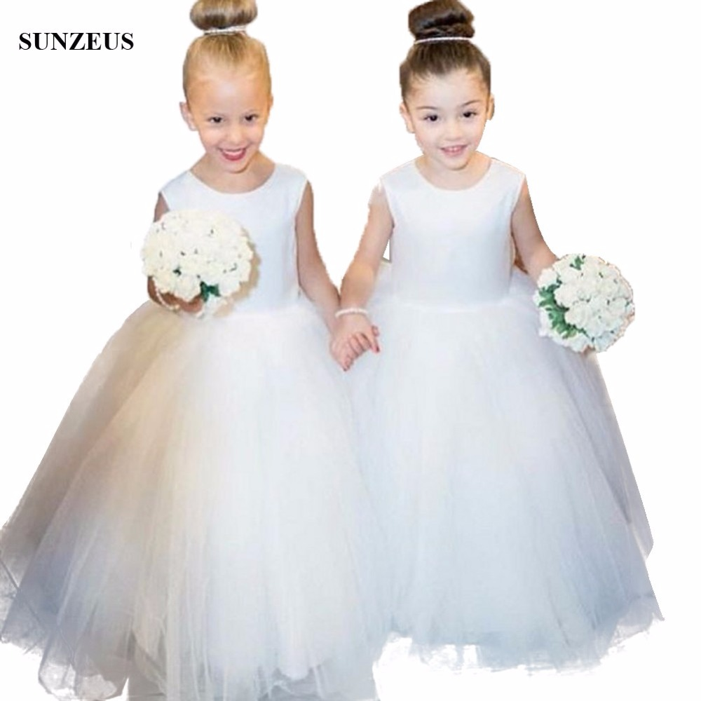 Ball Gown Ivory   Flower     Girl     Dress   Simple Long Tulle Wedding Party Gowns For Children Kids Communion   Dresses   With Bow FLG013