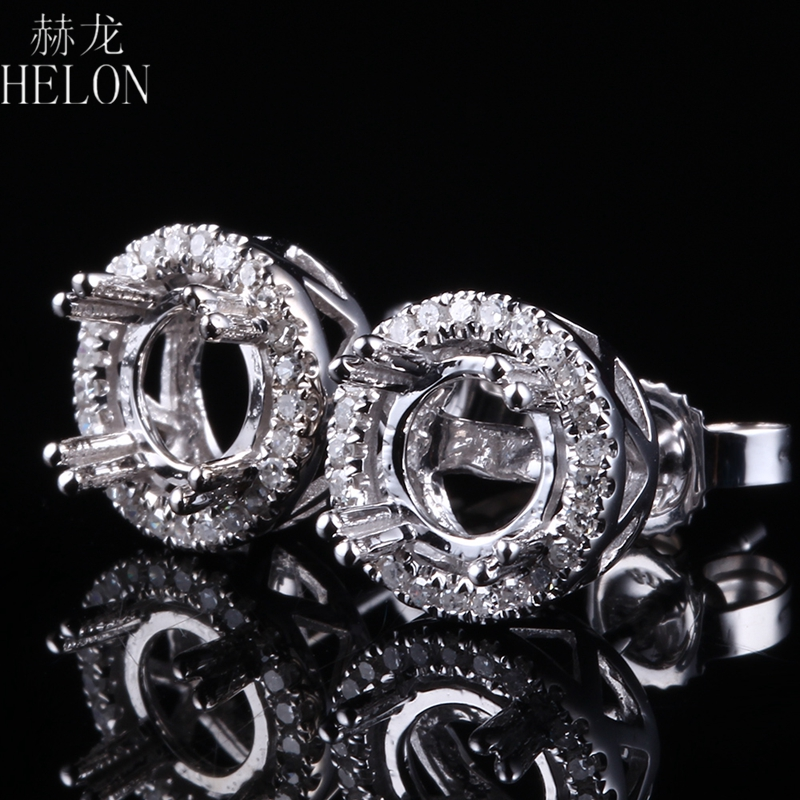 HELON Lady Diamond Elegant Classic Semi Mount Stud Earrings 5-6.75mm Round Solid 10K White Gold Engagement Wedding Fine Jewelry