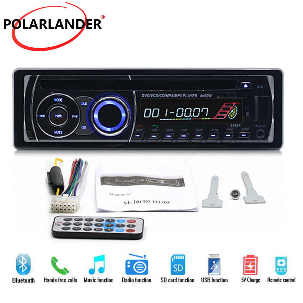 Car Radio Stereo With Remote Control BT Bluetooth Removable panel 1 DIN Audio Music FM AUX IN USB SD card CD DVD MP3 player 1 din car stereo radio audio player receiver fm aux cd dvd wma mp3 player usb sd slot detachable panel for sedan suv truck etc