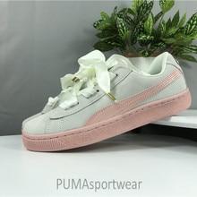 24bf5e603cb Puma Suede Coração Rosa das Mulheres originais Tênis Camurça Cetim Sapatos  Badminton Size35.5-40