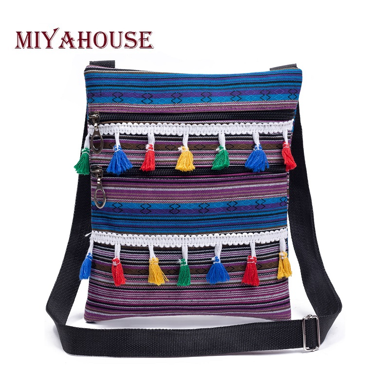 Miyahouse Double Zipper Canvas Design Shoulder Bag Women Colorful Striped Printed Ladies Messenger Bag With Small Tassel miyahouse fashion colorful tassel design messenger bag women double zipper small shoulder bag female canvas lady flap bag