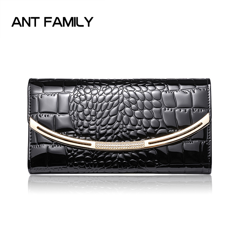 Ladies Genuine Leather Wallet Women Fashion Patent Leather Wallets Luxury Brand Coin Purse Female Clutch 3 Fold Cowhide Wallet genuine leather wallet women luxury brand plaid coin purse female long clutch ladies leather wallets portfel damski portomonee