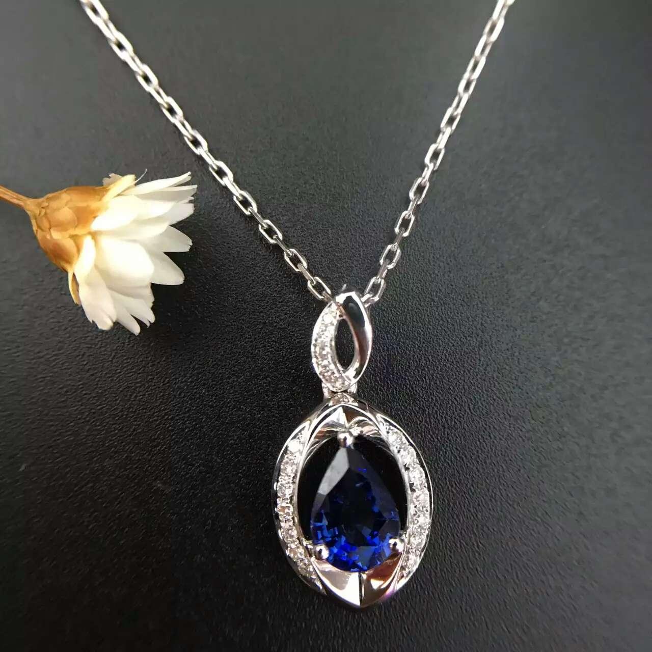 18K White Gold 1 149ct Natural Sapphire 0 099ct font b Diamond b font Pendant font