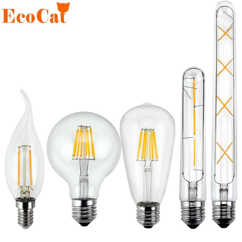 LED Edison Bulb E27 Vintage Bombillas LED Lamp 220V C35 A60 G45 T185 T300 Retro Filament Light Candle Light Lamp 3W 6W 7W 8W