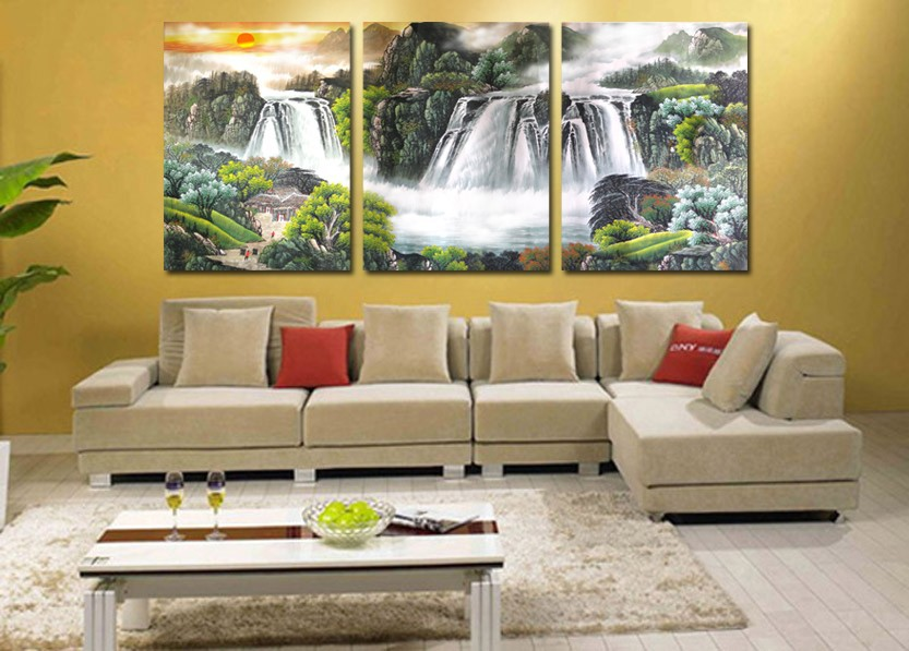 3 panel wall art chinese waterfall landscape painting for Modern art gallery online