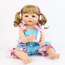 55cm Full Silicone Vinyl Reborn Baby Doll Toys Girls Bonecas 22inch Newborn Blonde Princess Bebe Alive Babies Xmas Birthday Gift