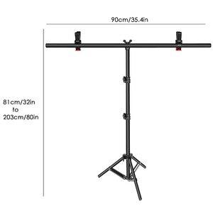 Image 4 - Neewer t şekli arkaplan Backdrop destek stant kiti: 32 80 / 28 79 / 18 31 inç ayarlanabilir Tripod standı ile 2 sıkı kelepçeleri