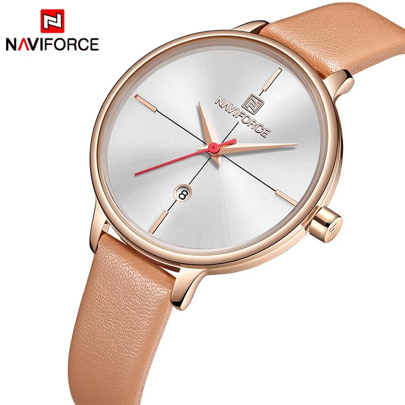 8bc34c0f5e5 NAVIFORCE Women's Watches Luxury Brand Fashion Leather Wrist Watch Ladies  Thin Quartz Clock Waterproof Relogio Feminino ...