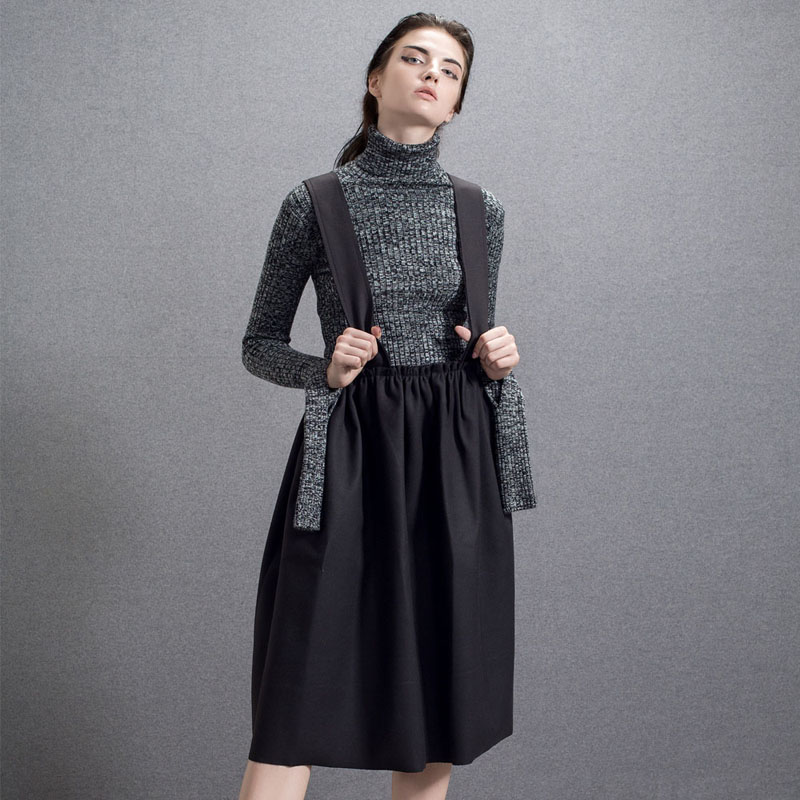 Womens Shoulder-straps Skirts Winter Autum Elastic Braces Suspender Skirt with Straps Back Cross Casual Knee Length Overalls