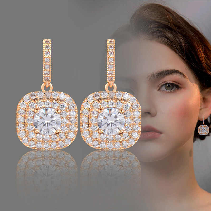 SINLEERY Dazzling CZ Stones Square Drop Earrings For Women Gold Silver Color AAA Cubic Zirconia Earring CZ031 SSH