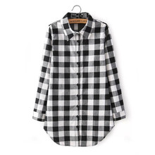 Pop New Nice Women Blouses Long Shirts Single Breasted Plaid Cotton Shirt Wild Casual Shirt Women Plus Size Blouse A811