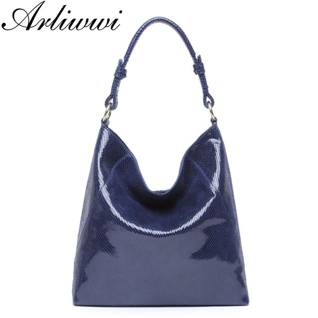 Arliwwi Brand Genuine Leather Luxury Serpentine 100% Real Cow Leather Elegant Multi Functional Big Shoulder Bags For Women