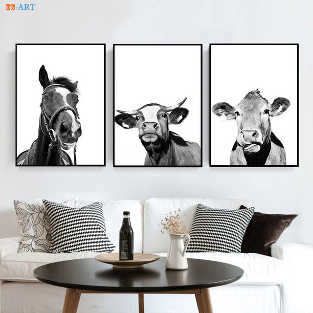 Framed Black and White Wall Art Modern Canvas Painting Farmhouse ...
