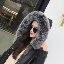 Натуральный Лисий меховой воротник зимняя мода теплая подкладка длина 75 см пальто свитер пуховик меховой воротник