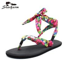 Starfarm женская обувь Йога слинг Туфли без каблуков Сандалии Черный, серый цвет с цветочным принтом Ремешок на щиколотке Сланцы шикарный пляж Направляющие вьетнамки