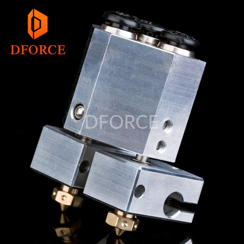 DFORCE подберите двойной экструзии + Химера + с водяным охлаждением для 3d принтер для e3d hotend titan Экструдер 3d touch сопла