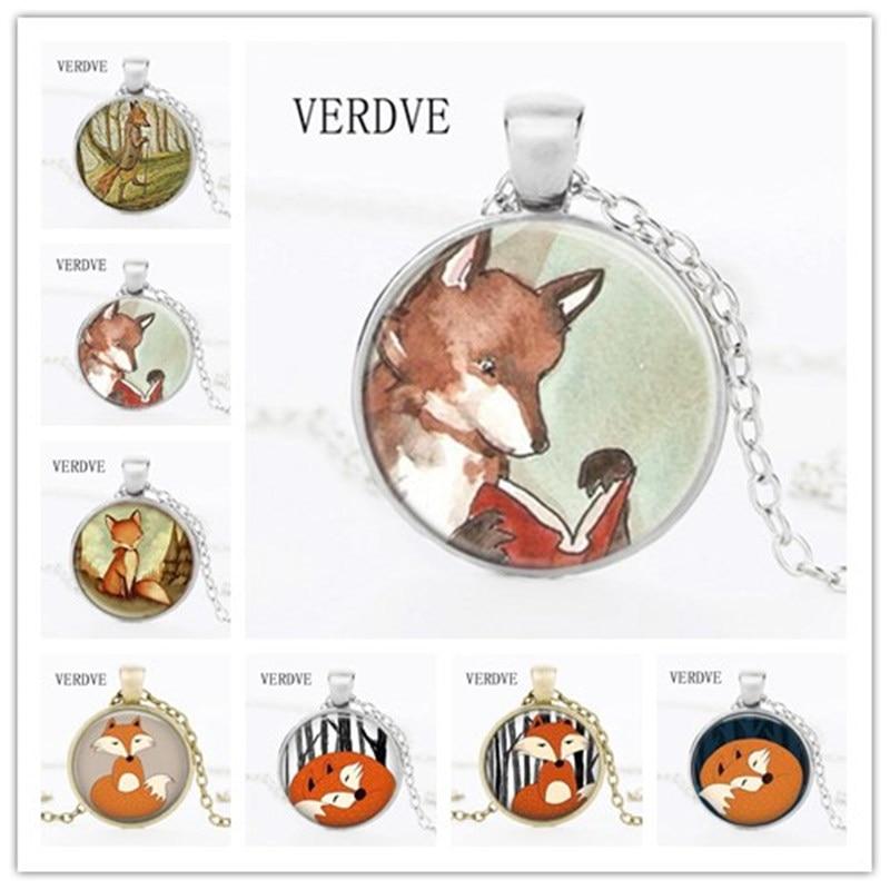 VERDVE 2017 New Necklace Fox Jewelry Neck Bio Watercolor Forest Art Glass Dome Pendant Necklace for Women