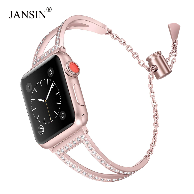 JANSIN Diamond Watch Bands For Apple Watch 38mm 42mm 40mm 44mm Iwatch Band Series 5 4 3 2 1 Stainless Steel Strap Women Bracelet