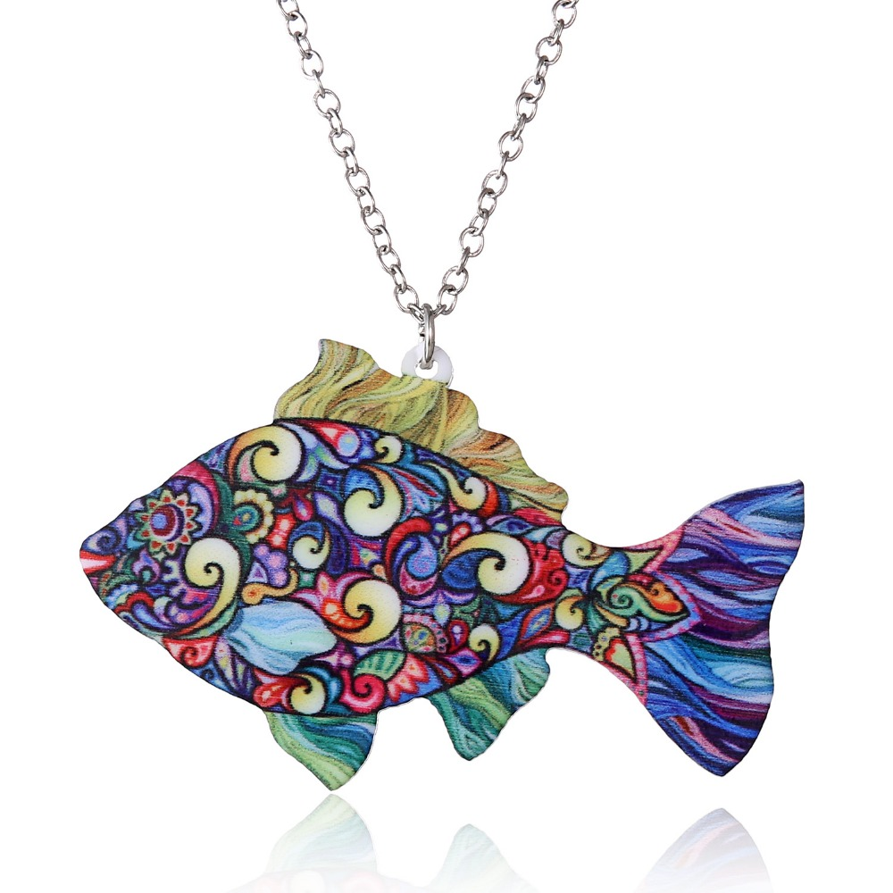 Charm Jewelry Colorful Double Side Acrylic Rainbow Fish Printing Flower Pendant Necklace For Women Costume Sweater Chain Gift