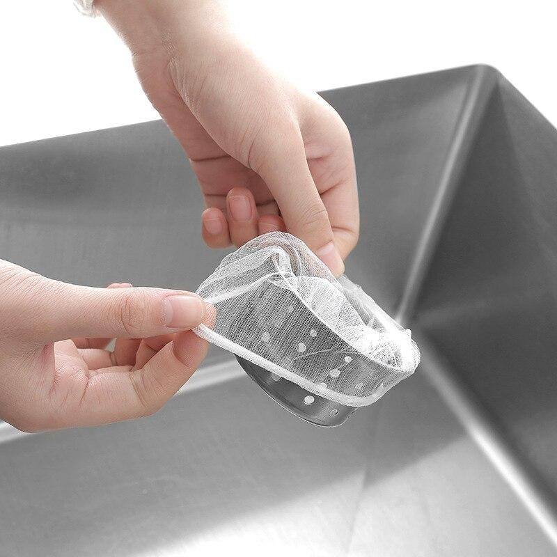 XZJJA White Sink Drainage Hole Food Scraps Strainer Mesh Disposable Prevent Clogging Garbage Bag Kitchen Bathroom Trash Filter